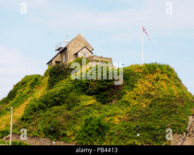 St Nicholas chapel on Lantern Hill above the harbour at Ilfracombe, Devon, UK - Stock Image