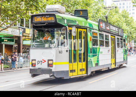 Melbourne, Australia - 21st February 2018: A modern electric tram. The city centre has a good network of trams. - Stock Image
