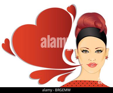 Retro Woman With Speech Bubble - Stock Image