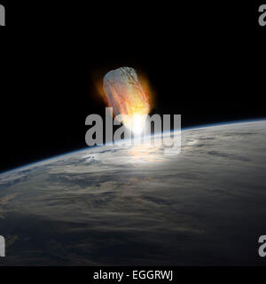 A massive asteroid, glowing white hot, enters Earth's atmosphere moments before impact with the planet. - Stock Image