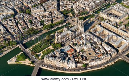 Aerial view of Ile de la Cité Paris France with Notre-Dame - Stock Image