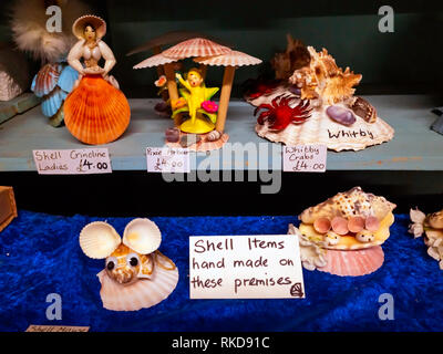 A collection of small household ornaments made from sea shells all made on the premises  on the  Shambles covered Market in Whitby - Stock Image