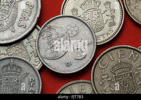 Coins of Spain. Spanish commemorative five peseta coin (1982) dedicated to the 1982 FIFA World Cup. - Stock Image
