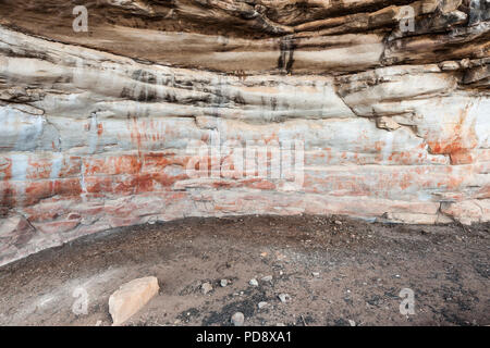 Indigenous San rock art on the walls of a cave in the Cederberg Mountains in South Africa. - Stock Image