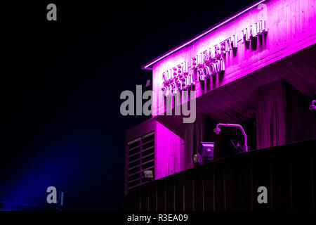 The Queen Elizabeth Hall on the South Bank in London, England, at night. - Stock Image