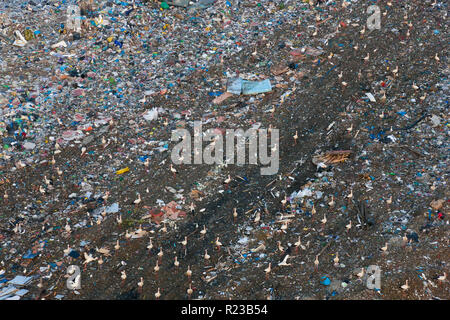 Aerial view of rubbish in land fill site, Andalucia, Spain - Stock Image