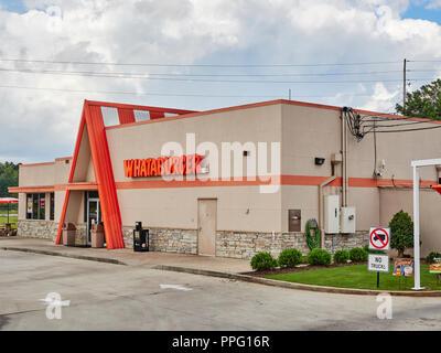 Whataburger fast food restaurant front exterior entrance in Clanton Alabama, USA. - Stock Image