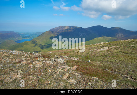 Whiteless Pike from the summit of Robinson in the Lake District. - Stock Image