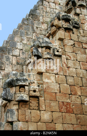 Mayan Architectural Decorations, Uxmal Archeological Site, Yucatan Peninsular, Mexico. - Stock Image