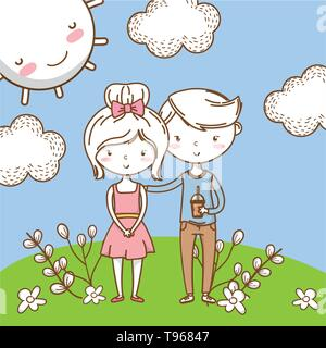 Romantic love couple cute stylish outfit dress bow soda cup background vector illustration graphic design - Stock Image