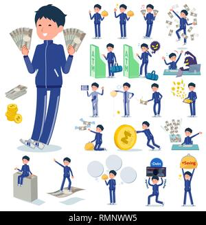 A set of school boy in sportswear with concerning money and economy.There are also actions on success and failure.It's vector art so it's easy to edit - Stock Image