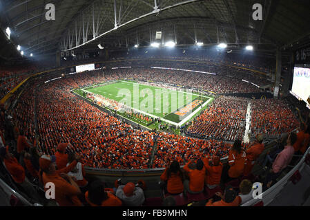 Glendale, AZ, USA. 11th Jan, 2016. Fans of Clemson watch to a 3rd quarter touchdown during the 2016 College Football - Stock Image