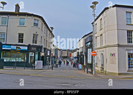 Adare Street in Bridgend town centre, at the junction with Nolton Street. - Stock Image