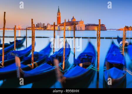 Sunrise in Venice with the view from San Marco square towards San Giorgio Maggiore - Stock Image