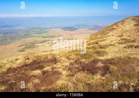 View from Hay Bluff across the Wye valley towards Hay on Wye Powys Wales UK, March 2019 - Stock Image