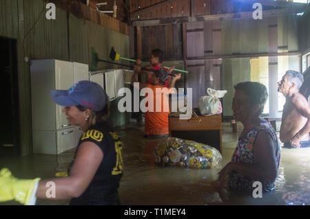2015 flooding in Brazilian Amazon, flooded house  in Taquari district, Rio Branco city, Acre State. Family finds house  flooded with the water level above the waist, after spending some days at relatives´ houses.  People clean walls and ceilings of flooded houses with rive´s dirt water before ebb because there is no water suply. Floods have been affecting thousands of people in the state of Acre, northern Brazil, since 23 February 2015, when some of the state's rivers, in particular the Acre river, overflowed. - Stock Image