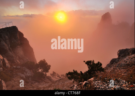 view from Ai-Petri Mountain on Crimea in Ukraine - Stock Image