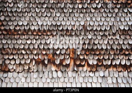 Detail of the shingle roof of a traditional chalet in the Loetschental valley, Valais, Switzerland - Stock Image