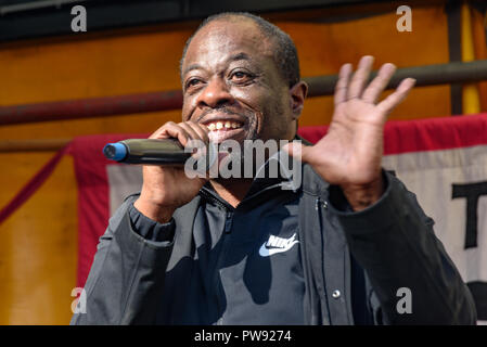 London, UK. 13th October 2018.  Weyman Bennett of Stand Up to Racism speaks at the rally in London to oppose racism  and fascism close to where the racist, Islamophobic DFLA were ending their march on Whitehall bringing together various groups to stand in solidarity with the communities the DFLA attacks. The event was organised by Stand Up To Racism and Unite Against Fascism. Peter Marshall/Alamy Live News - Stock Image
