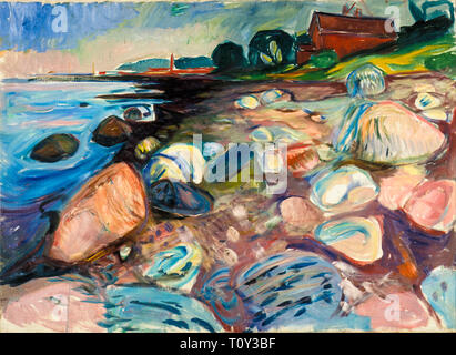 Edvard Munch, Shore with Red House, painting, 1904 - Stock Image