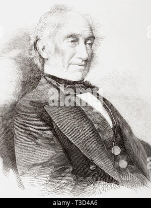 Sir William Jackson Hooker, 1785 – 1865.  English systematic botanist and organiser, botanical illustrator and director of the Royal Gardens at Kew.  From The Illustrated London News, published 1865. - Stock Image