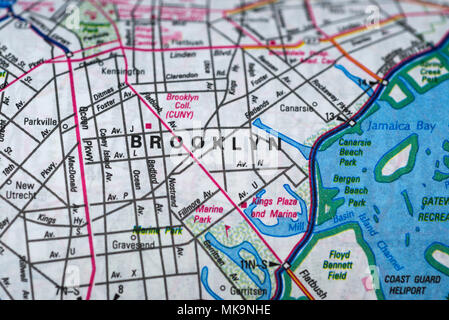 Brooklyn road map, New York - Stock Image