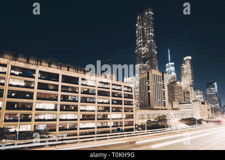 New York City skyline at night, long exposure picture, color toning applied, USA. - Stock Image