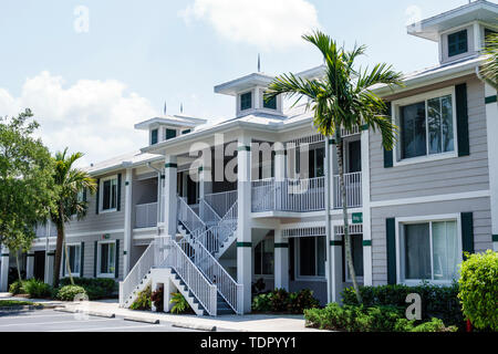 Naples Florida GreenLinks Golf Villas at Lely Resort rental town houses exterior stairs railings - Stock Image