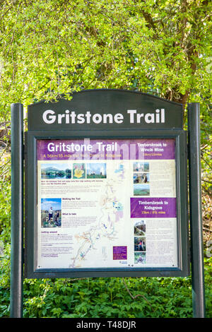 Information board displaying details about the Gritstone trail in Timbersbrook car park Bosley cloud Cheshire England UK - Stock Image