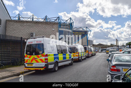 Bermondsey Borough of Southwark London UK - Police vans and vehicles outside Millwall FC The Den for a football match - Stock Image