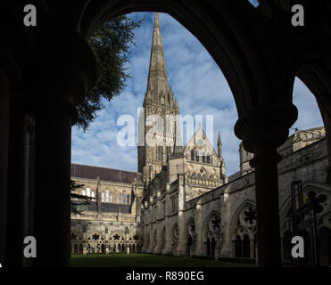 Salisbury Cathedral Wiltshire England. 11 Dec 2018 Salisbury Cathedral, formally known as the Cathedral Church of the Blessed Virgin Mary, is an Angli - Stock Image