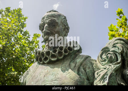 Badajoz, Spain - September the 3rd, 2018: Pedro de Alvarado, Spanish Conqueror of Central America. Sculpture made by Estanislao Garcia - Stock Image