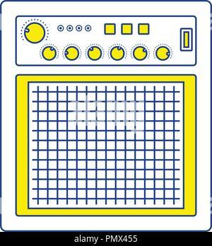 Audio monitor icon. Thin line design. Vector illustration. - Stock Image
