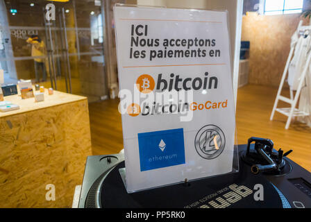 Marseille, FRANCE, Detail Bitcoin Payment Sign in Concept Store, Inside, Shopping Center, Center CIty, Les Docks VIllage - Stock Image