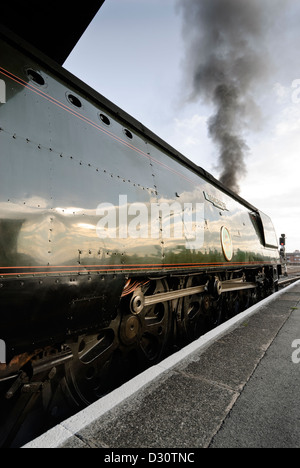 Bulleid Light Pacific locomotive, Tangmere Leaving Bristol Temple meads on a special steam tour. - Stock Image