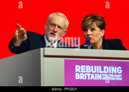 Liverpool, UK. 25th September 2018. Jermy Corbyn, Labour Leader on the platform with Emily Theronberry, Shadow First Secretary of State at the Labour Party Conference, Liverpool Credit: Della Batchelor/Alamy Live News - Stock Image