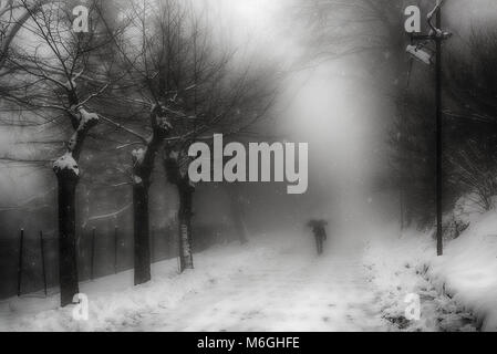 A man walking on the street under the snow in a foggy winter morning - Stock Image