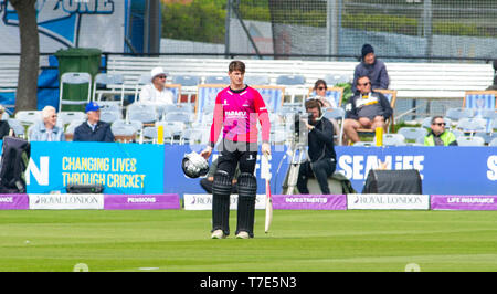 Brighton, UK. 7th May 2019 - Sussex Sharks batter George Garton waits to hear the third umpires decision of his dismissal during the Royal London One-Day Cup match between Sussex Sharks and Glamorgan at the 1st Central County ground in Hove. Credit : Simon Dack / Alamy Live News - Stock Image