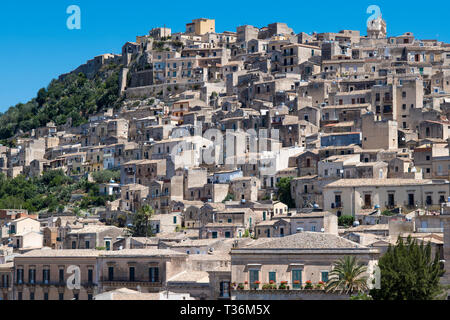 Ancient hill city of Modica Alta famous for its Baroque architecture, South East Sicily, Italy - Stock Image