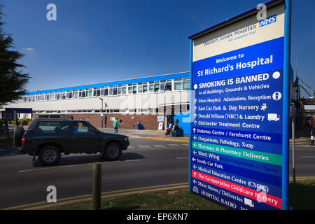 Entrance and direction sign at St Richards Hospital Chichester Western Sussex Hospitals - Stock Image