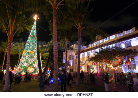 Illuminated Christmas tree on the grounds Honolulu Hale during the Honolulu City Lights Christmas celebration, Honolulu, Oahu, Hawaii, USA - Stock Image