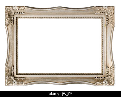 Silver Painted Picture frame - Stock Image