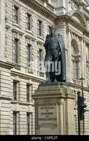 Statue of Spencer Compton, in front of Horse Guards Avenue buildings, London England. - Stock Image