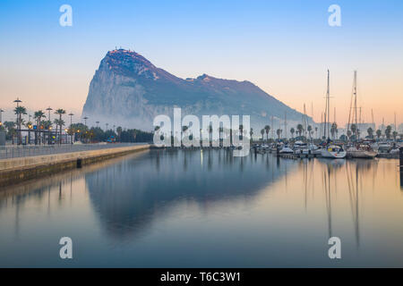Gibraltar, View of Rock of Gibraltar - Stock Image