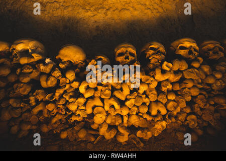Naples (Italy) - The Fontanelle cemetery is a charnel house, an ossuary, located in a cave in the tuff hillside in the Materdei section of the city - Stock Image