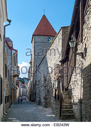 Tallinn old town. Medieval town wall, Laboratooriumi Street - Stock Image