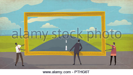 Business people looking through picture frame at the road ahead - Stock Image