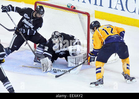 Providence's Goalie Jon Gillies makes the stop with help from Kyle McKenzie as Quinnipiac's Bryce Van Brabant - Stock Image