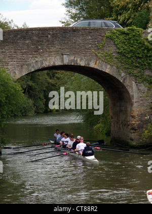 Mens rowing eight on the Thames between Abingdon and Culham, Oxfordshire - Stock Image
