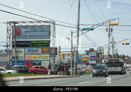 May 12, 2018 - Dartmouth, Nova Scotia: The busy intersection of Portland Street and Eisener, with stores and restaurants - Stock Image